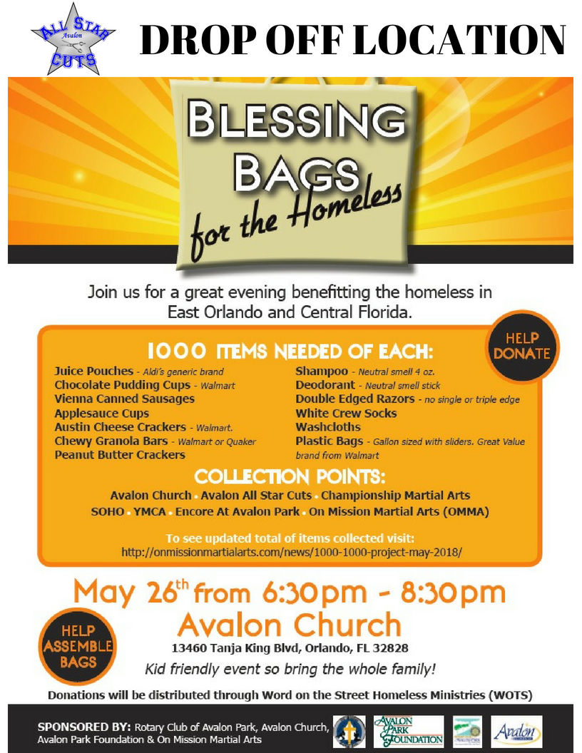 Blessing Bags for the Homeless - Avalon All Star Cuts